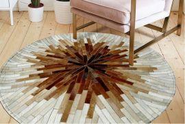 Leather Carpet Starr 200X200cm-beige-brown