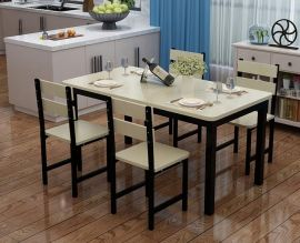 Dinning table set 4chairs Dougal-black-beige