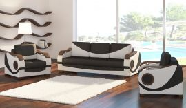Sofa set 3+1+1 Kaja-black-white