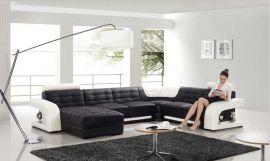 Kulmasohva Ancona musta-valkoinen nahka