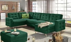 Corner sofa bed Enrique-dark green