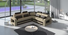 Corner sofa bed Crius-beige-brown-left