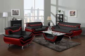 Sofa set Calgary 1+2+3-black-red