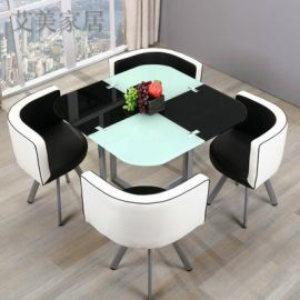 Dinning table set 4 chairs Dixon-black-white