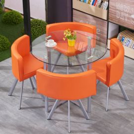 Dinning table set 4 chairs Fausto-orange