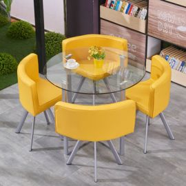 Dinning table set 4 chairs Fausto-yellow