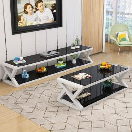 TV-Stand and coffee table set Gavin-black-white