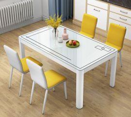 Dinning table set 4 chairs Gavino-white