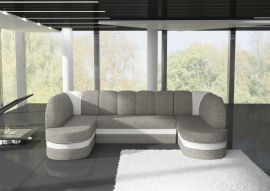 Corner sofa bed Heston-white-grey