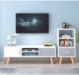 TV stand Keanu-white-grey