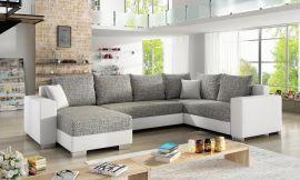 Corner sofa bed Kellan-white-grey-left