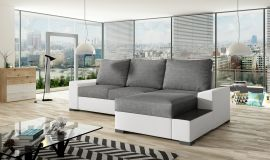 Corner sofa bed Romeo-white-grey-right