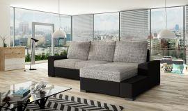 Corner sofa bed Romeo-black-grey-right