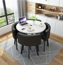 Dinning table set 4chairs Nikolai-white