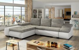 Corner sofa bed Roscoe-white-grey-left