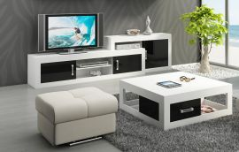 TV-Stand and coffeetable set Riny-black-white