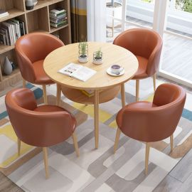 Dinning table set 4 chairs Semira-brown