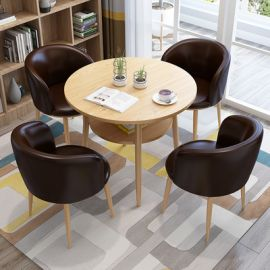 Dinning table set 4 chairs Semira-dark brown