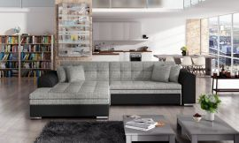 Corner sofa bed Meera-black-grey-left