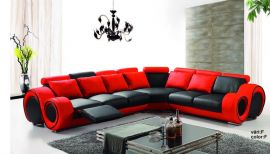 Space Family Corner sofa with foldable table-red