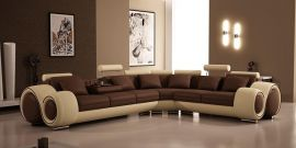 Space Family Corner sofa with foldable table-brown