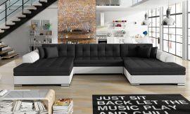 Corner sofa bed Helena-black-white