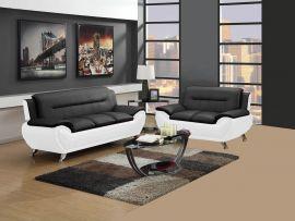 Sofa set Emilia 3+2-black-white
